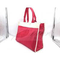 Quality Red Canvas Travel Tote Bags Slides Over Luggage Handle Customized Logo for sale