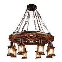China Boat Retro Hanging Lamps Metal Rustic Wooden Retro Chandelier Anti - Corrosion on sale