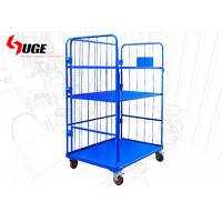 China Convenient  Movable Warehouse Cage Trolley 3 Sides With 6 Inch Nylon Wheels on sale