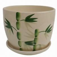 Ceramic Flower Pot with Green Bamboo Design, Various Designs are Available Manufactures