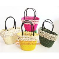 Fashion Straw Beach Bag Summer Weave Woven Women Shoulder Bags Straw Handbags with Ribbons Manufactures