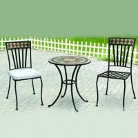 3-piece Mosaic Patio Set, Includes One Table and Two Chairs, Made of Iron, Cement and Ceramic Manufactures