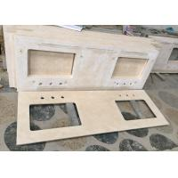 Double Sink Marble Bathroom Sink Tops , Cream Marfil Marble Stone Countertops Manufactures