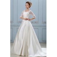 China Elegant V Neck A Line Ivory Satin Wedding Dresses With Half Sleeve on sale