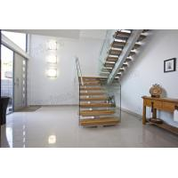 Mono Stringer Solid Wood Treads Staircase Glass Balustrade Stairs Manufactures