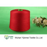 Red Bright Colored Dyed Polyester Yarn Z Twist With Plastic Core Manufactures