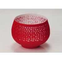 Red Votive Porcelain Candle Holder Bowl / Hollow Ceramic Candle Houses Manufactures
