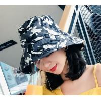 China Korean camouflage double basin cap male and female eaves shade Bucket hat folding sun hat on sale
