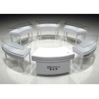 Fashion Modern Matte White Lacquer Wooden Round Jewelry Display Cases With Light Manufactures