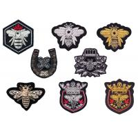 Indian silk gold silver shield crown horseshoe bee shape uniform club logo hand-embroidered  badge patch Manufactures
