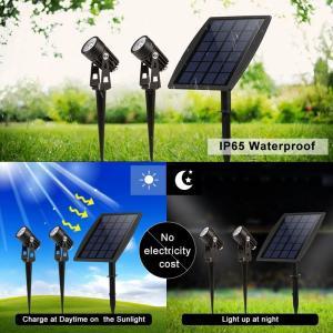 Solar Led Portable Motion Sensor Light 2 Head Spot For Garden Park Pathway Lighting Manufactures