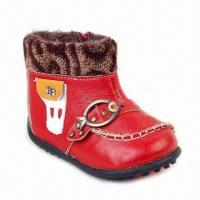 Kid's Leather Shoes with Red Leather & Brown Fleece Upper