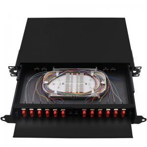 China Black Rack Mount Fiber Patch Panel , ODF Ethernet Patch Panel FC 24 Core Pigtail on sale