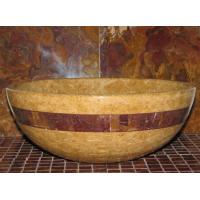 China Inca Gold Marble Kitchen Bathroom Sinks With Multi Red Onyx Stone Mosaic Inlay on sale