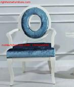 Quality Leisure fabric with white painting solid wood chair in Neoclassical design and for sale