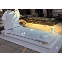 White Pearl Monument Grave Markers , Marble Sketch Simple Headstones For Graves Manufactures
