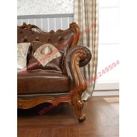 Quality European Classic Solid Wooden Carving Frame with Italy Leather Upholstery Sofa Set for sale