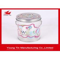 Color Printed Empty Cylinder Round Gift PET Tin Boxes Sweets Packaging Handle Attached Manufactures