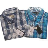 100% Mens Yarn Dyed Plaids Short Sleeve Casual Shirt Manufactures