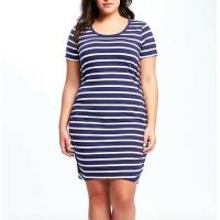 2019 Cotton Ladies Plus Size Dresses Blue And White Stripped Anti Static Manufactures