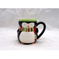 China Cute 3D Ceramic Mug / Penguin Coffee Mug Strong Dolomite Material With Scarf on sale