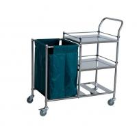 Three Shelves Laundry Collecting Trolley With S.S. Guardrails Manufactures