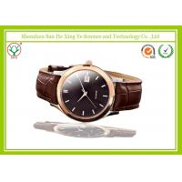 Ultra-thin Rose Golden Leather Wrist Watch Luxury With Waterproof 5 ATM Manufactures