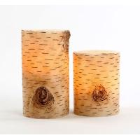 China Remote Ready Amazing Flameless Candle Birch Bark Triple Timer on sale
