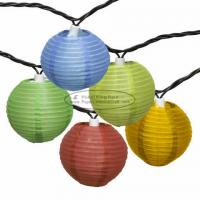 Buy cheap 3 inch chinese yellow purple Paper Lantern String Lights led 10 pcs battery operated from wholesalers