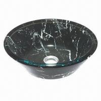 Bathroom Sink, Made of Tempered Glass Vessel