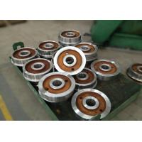 China Forged polished double rim wheel for rail cart on steel rails with 800mm on sale