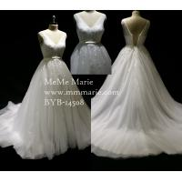 Chic Organza V Neck Appliqued Beaded Lace Wedding Dress Bridal Gown with Ribbon Band BYB-14508 Manufactures