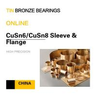 China CuSn6 Tin Bronze Bushing Flange Copper Alloy Bearing Oil Hole Groove Mining & Processing Equipment on sale