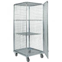 Four Side Mesh 2 Shelves Wire Utility Cart , Tool Storage Wire Roll Cage for sale