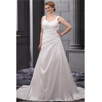 Classic Sweetheart A Line Ruffle White Plus Size Designer Wedding Gowns With Beaded Sweep Train Manufactures
