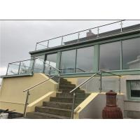 Professional Brushed Stainless Steel Glass Railing , Stainless Steel And Glass Balcony Railings Manufactures