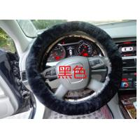 Black Genuine Sheepskin Steering Wheel Cover With Australia Pure Wool Manufactures