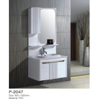 China Floor Mounted PVC Bathroom Vanity Invisible Handle Above Counter Basin on sale