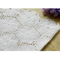 Swiss Voile 100% Cotton Lace Fabric , Embroidery Guipure Lace Fabric For Lady Dress Manufactures