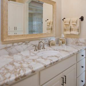 China G682 Granite Natural Stone Countertops , Granite Bathroom Countertop With Single Ceramic Wash Basin on sale