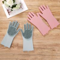 Colorful Non stick Durable Heat and Slip Resistant Long Silicone Scrubbing Brush Gloves Manufactures