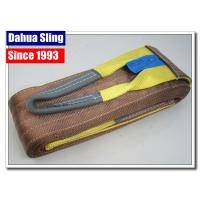 China Brown Synthetic 6 Ton Flat Lifting Slings 6 Inch Single Layer For Heavy Goods on sale