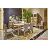 Light luxury dining room furniture Nice wood table with Leather dining chairs for Villa home interior design furniture Manufactures