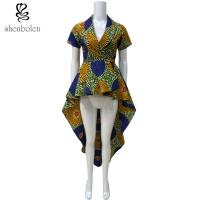OEM Service Mixed Color Ankara African Print Tops Short Sleeve High Low Style Manufactures
