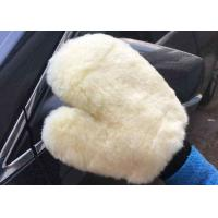 Household White Car Wash Hand Gloves , Lambswool Car Wash Mitt 26.5 X 21 Cm Manufactures