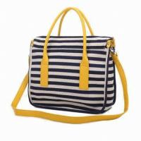 China Fashion Stylish Tote With Polyester / Ladies Stripe Canvas Bags For Spring / Summer on sale