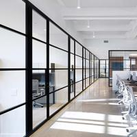 Soundproof Office Glass Partition Walls Aluminum Frame Environment - Friendly Manufactures