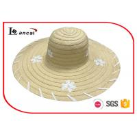 Customized embroidery wide brim sun hat , womens straw floppy hat Manufactures