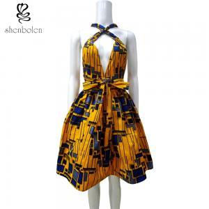 Sleeveless V Neck African Print Summer Dresses Knee Length Ankara Fabric Manufactures