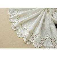Customized Embroidery Cotton Lace Fabric By The Yard For Dress Cloth Off White Color Manufactures